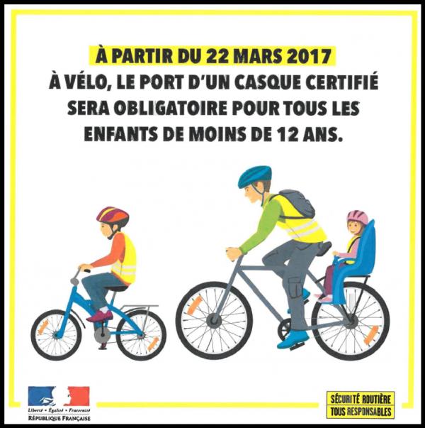 obligation port casque enfant à vélo